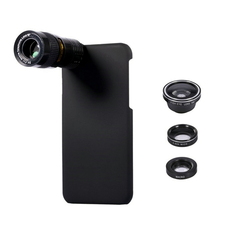 Portable 5 In 1 9X Telephoto Wide Angle 10X Macro Fisheye Camera Lens Case Cover for