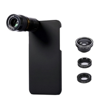 Portable 5 In 1 9X Telephoto Wide Angle 10X Macro Fisheye Camera Lens Case Cover for iPhone 7 for Apple Phone Camera Lens Black