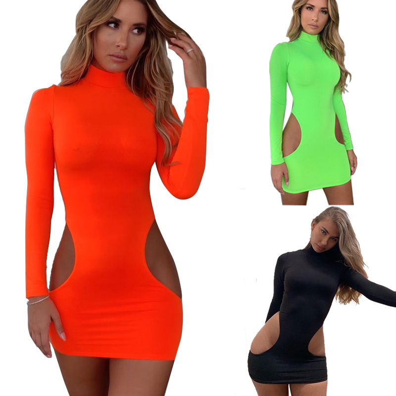 >BKLD Women Summer Dress 2019 New Sexy <font><b>Cut</b></font> <font><b>Out</b></font> Dress Long Sleeve <font><b>Neon</b></font> Green Bodycon Mini Clubwear Party Dresses Women Evening