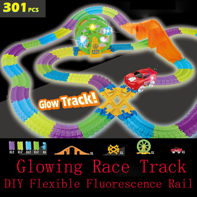 Glow Tracks With Race Car interesting Track Game DIY Assembly Music Race Electronic Lights Rail Funny Toys for Children