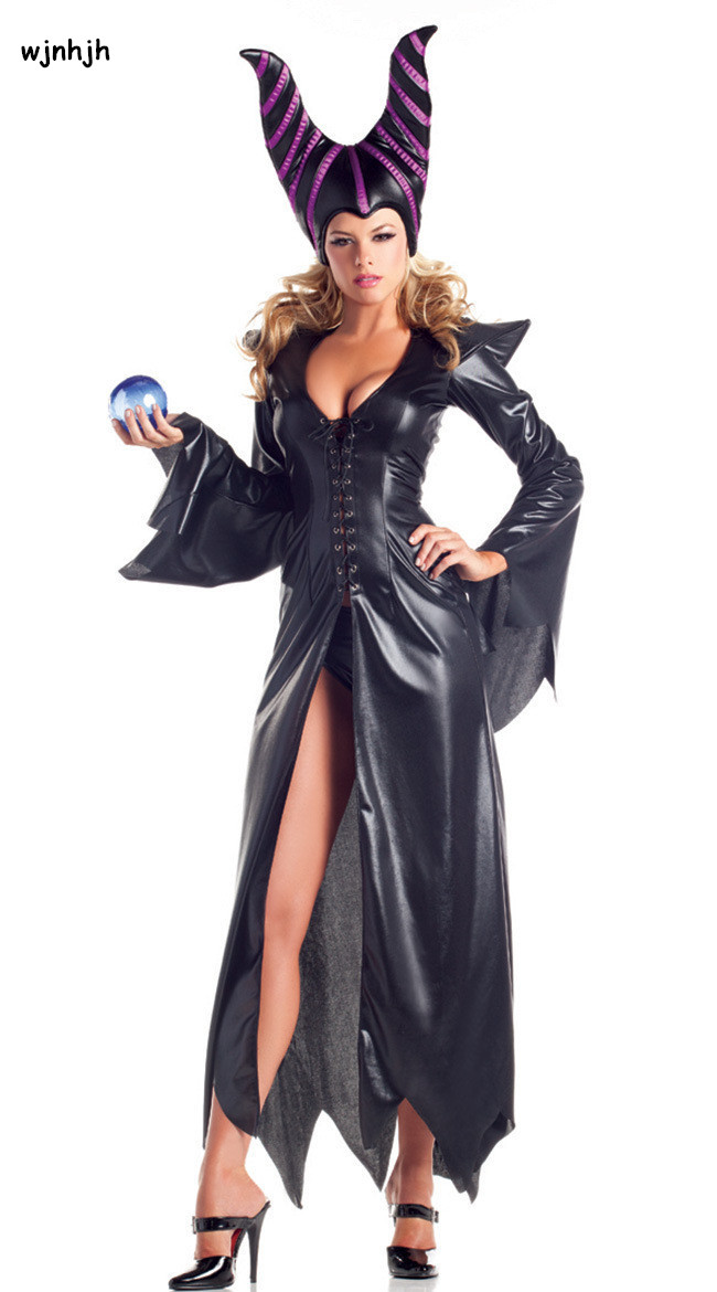 maleficent dark cosplay costume black magic adlut sexy black halloween costumes female witch cosplay - Halloween Costumes Prices