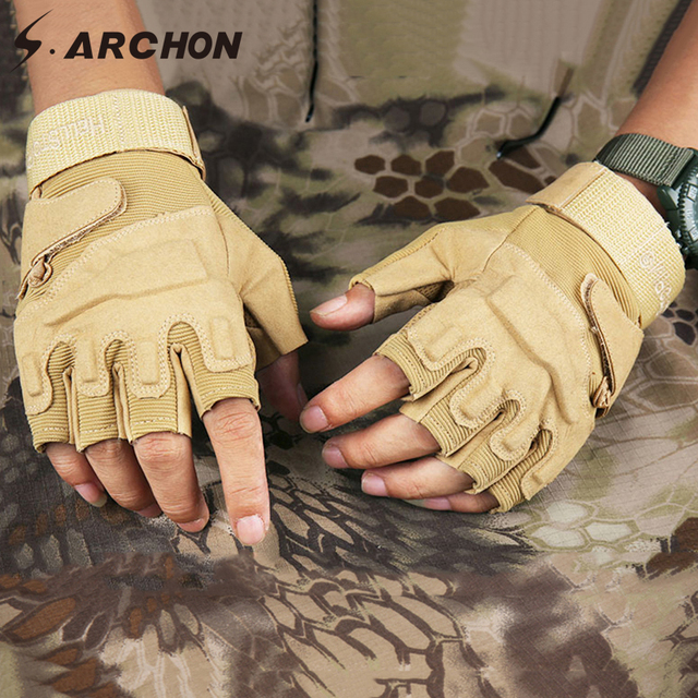 S.ARCHON US Army Tactical Fingerless Gloves Men Anti-Skid Half Finger Military Shooting Mittens Male SWAT Fighting Combat Glove 4