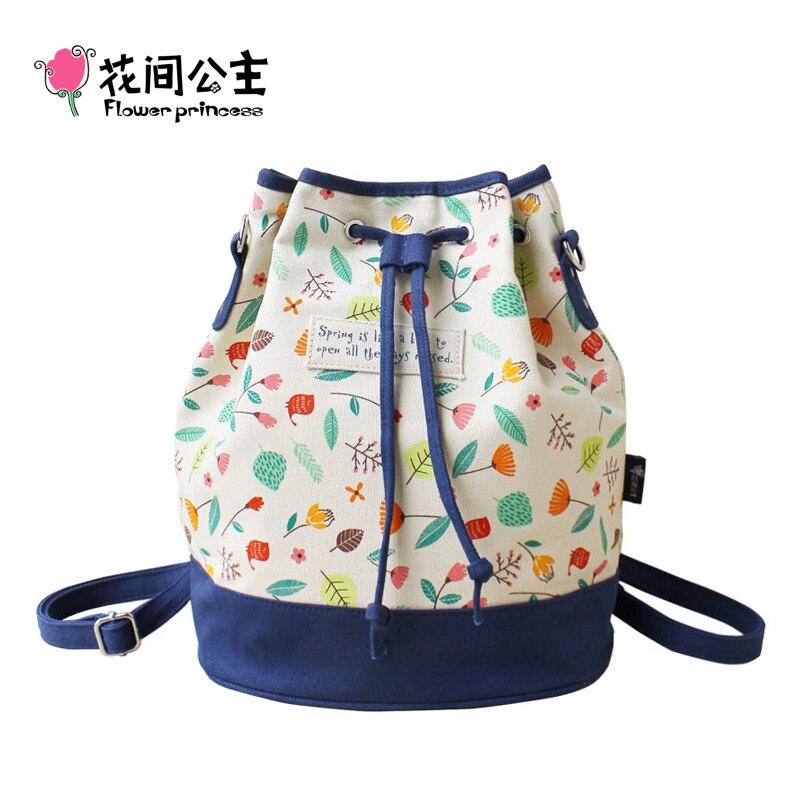 ФОТО Flower Princess Brand Women Spanish Canvas Bucket String Shoulder Bag Girl Fashion School Bag Female Messenger Bags Bolso BX001