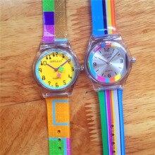 Для женщин и мужчин высокого качества пластиковые водонепроницаемые наручные часы люксовый бренд модные детские красочные ремешок мультфильм watchstudent