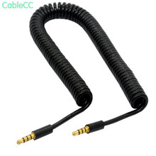Gold-plated 4-stage spring telescopic audio male to male spiral car AUX audio cable DC3.5 male to male 3 meters for mobile compu translucent 3 5mm male to male audio connecting cable white blue 120cm
