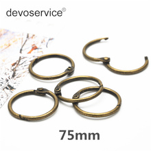 10Pcs 75mm 63mm Open Binding Ring Knock Bronze Vintage Book Circle Iron DIY Album Loose Leaf