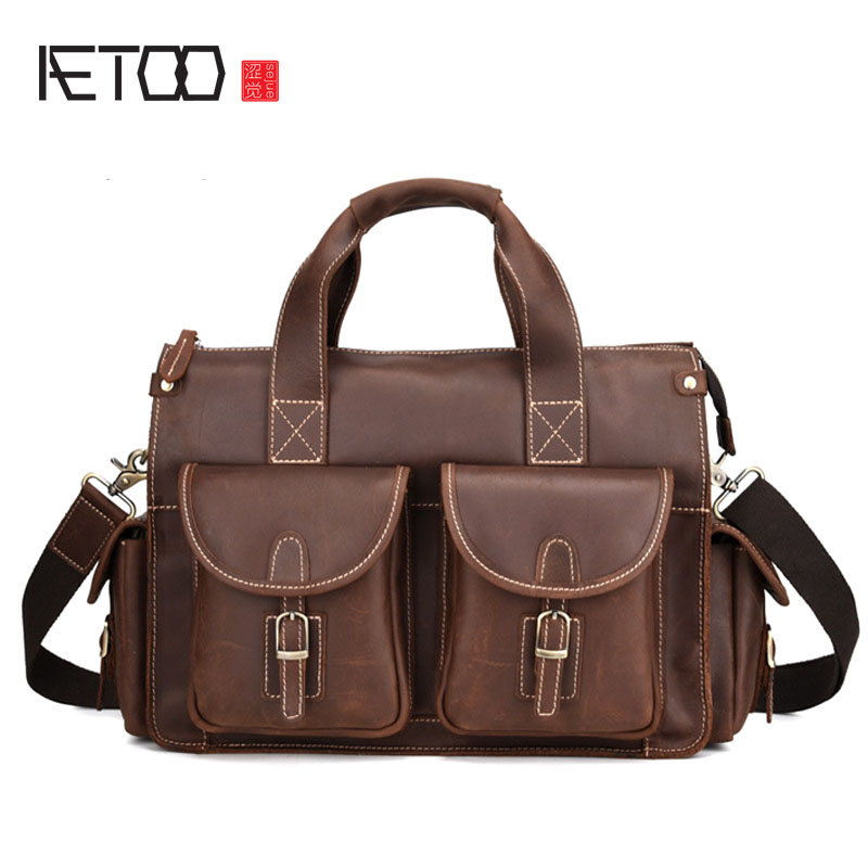 AETOO New Crazy Horse Leather Men's Briefcase Retro Laptop Bag Crazy Horse Leather Shoulder Messenger Bag designer second layer crazy horse leather briefcase men messenger shoulder bag laptop bag maletin hombre negocios bookbag b00021