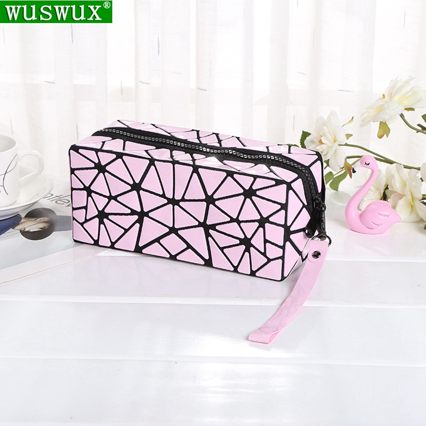 Cosmetic Bag New Fashion Geometric Folding Women Make Up Bag Casual Travel Makeup Case Beauty Bag Organizer Toiletry Kit Pouch(China)
