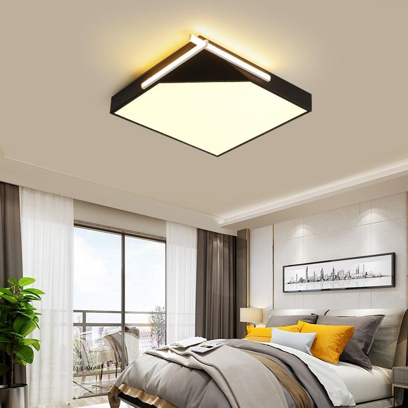 yanghang Simple Geometric LED Ceiling Lamp Kitchen Bedroom modern Black/White lamparas techo restaurant House Lighting Fixture