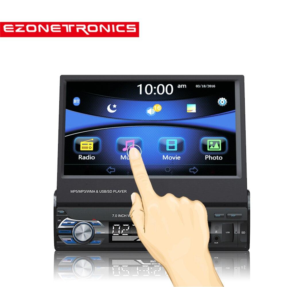 Бесплатная доставка автомобилей Радио Стерео gps Универсальный 7 скольжения вниз Сенсорный экран 1DIN удаленного Управление FM Bluetooth MP3 MP5 аудио...