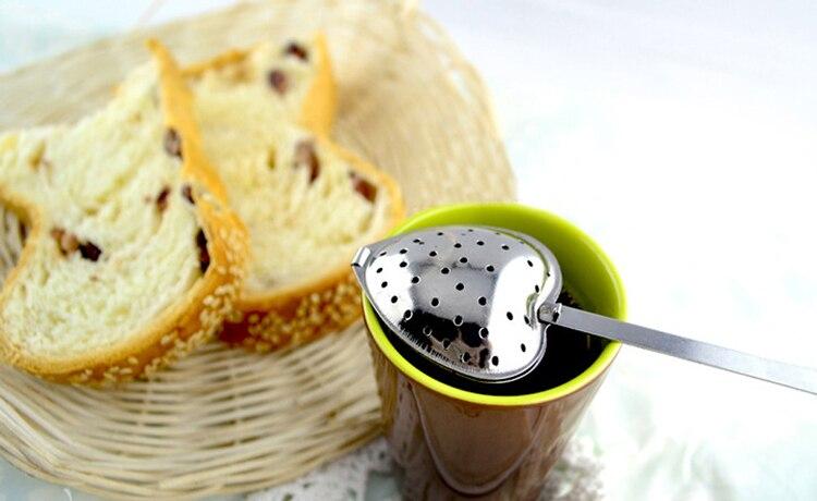 1Pcs Tea Infusers Heart Shaped Spoon Tea Strainer Love Heart Shaped Stainless Steel Steeper Handle
