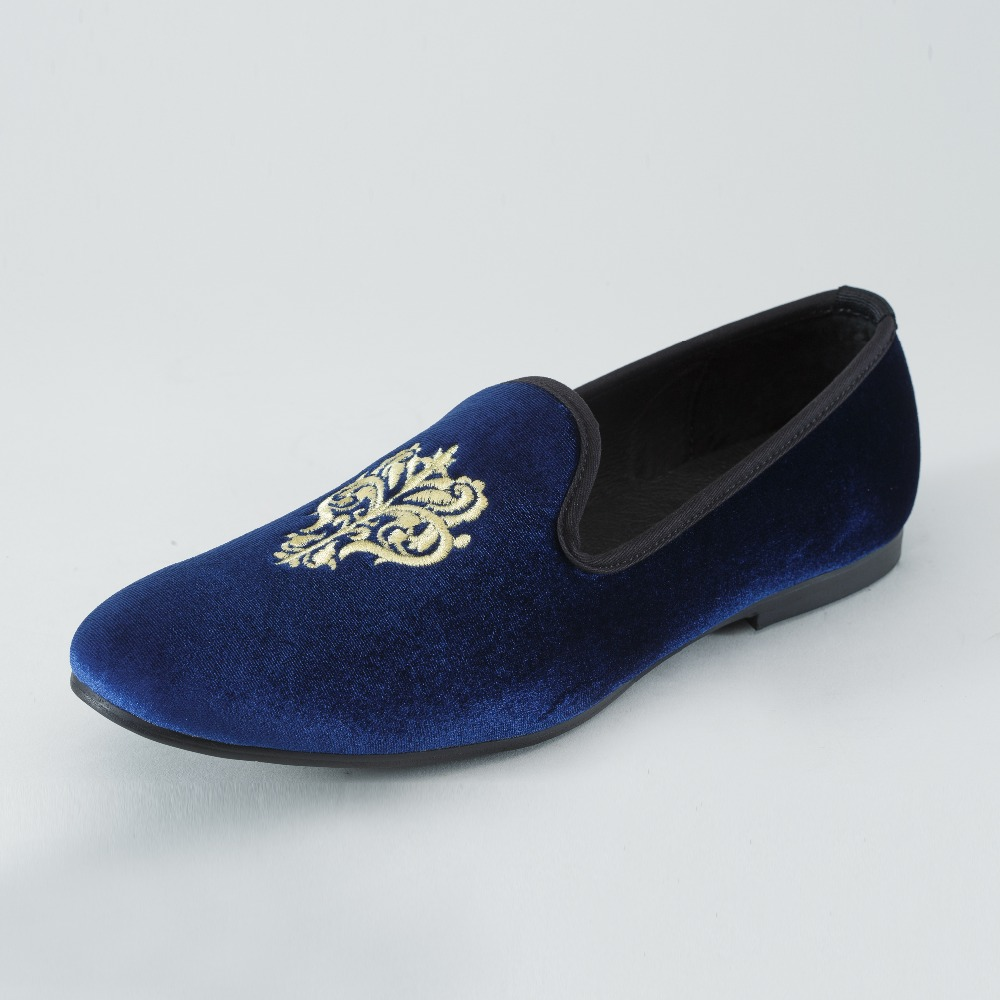 New Handmade Men Blue Velvet Loafers Casual shoes Slip-On Dress Shoes British Smoking Slippers Men's Flats Plus size US 7-13 new black embroidery loafers men luxury velvet smoking slippers british mens casual boat shoes slip on flat shoes espadrilles