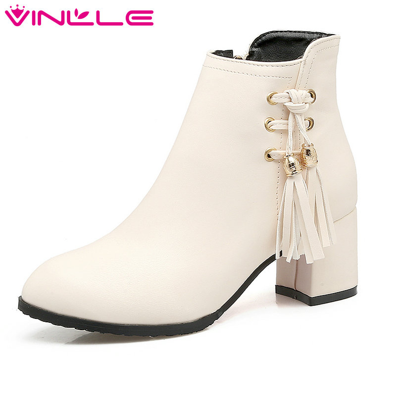 VINLLE 2018 Women Boots Shoes Ankle Boots Square High Heel Pointed Toe PU leather Tassel Ladies Motorcycle Shoes Size 34-43 vinlle 2018 women boots shoes ankle boots square high heel round toe slip on beige ladies motorcycle shoes size 34 43