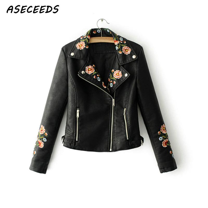 Fall 2018 floral Embroidery faux   leather   jacket women long sleeve black   leather   jacket coat Punk motorcycle jacket women outwear