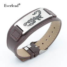 EVERLEAD Cuff Leather Bracelet High Quality Men Bracelet jewelry bracelets hombre gift Stainless Steel genuine Leather Bangle