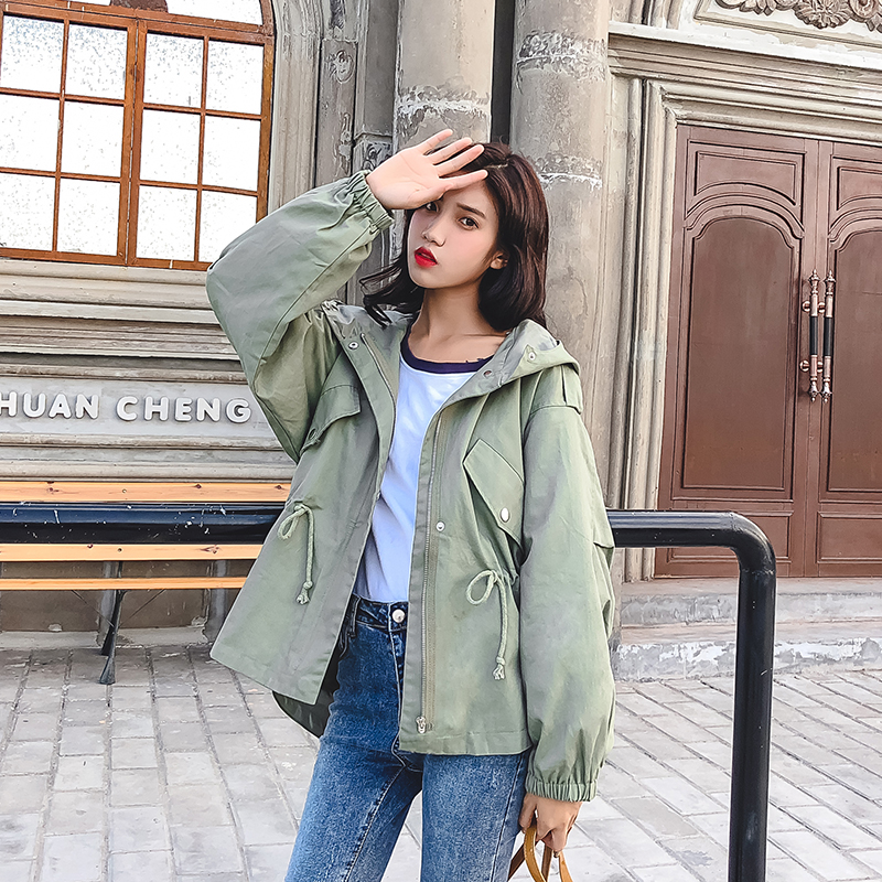 FTLZZ New Loose Trench Coat Spring Autumn Women's Hooded Black Green Windbreaker Outerwear Female Casual Trench Coat 10