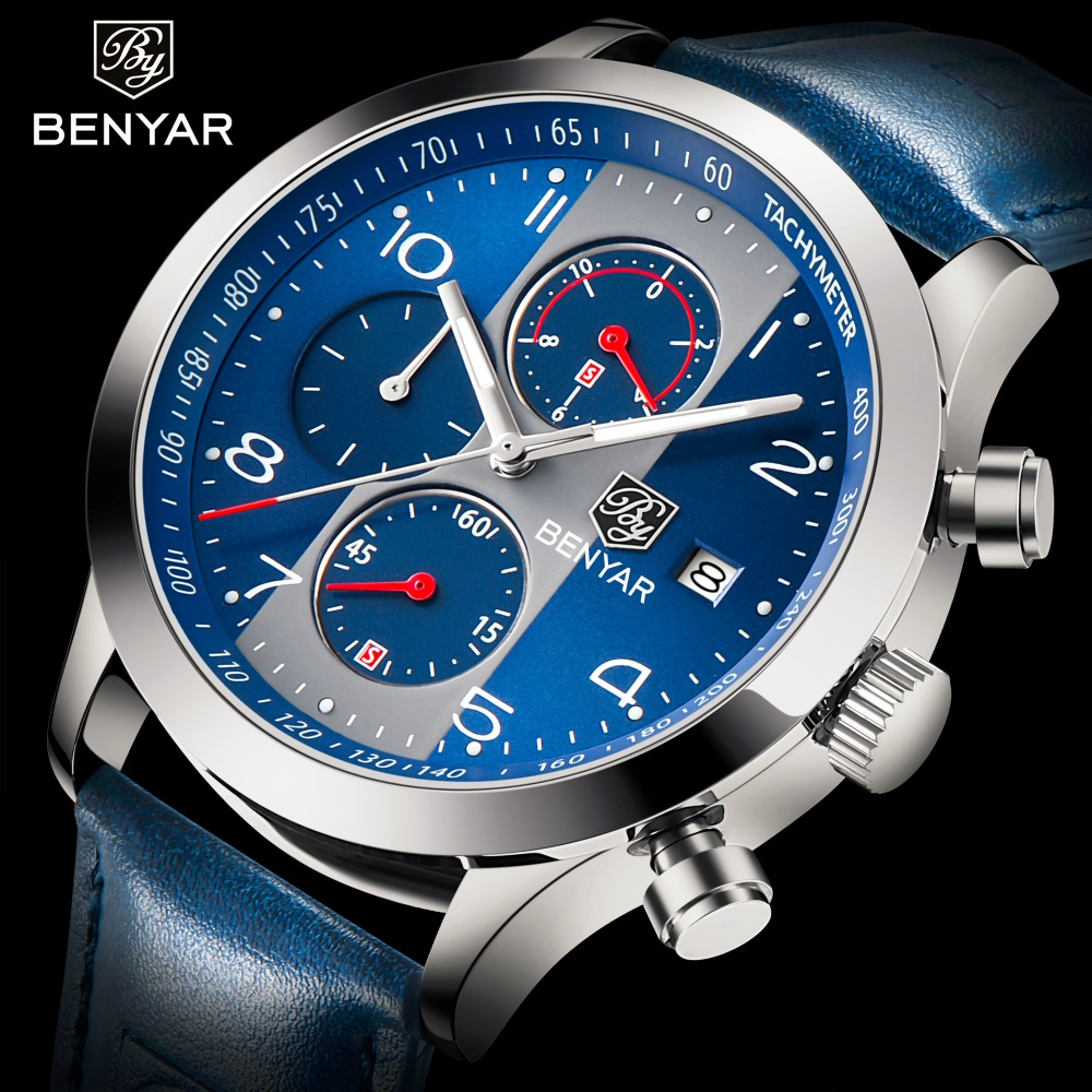 все цены на BENYAR Fashion Waterproof Chronograph Watches Men Quartz Military Top Brand Luxury Men Watch Male Sport Clock reloj hombre