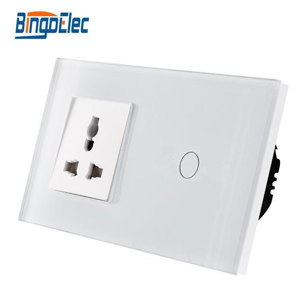 Bingo luxury glass panel light switch with 13A multifunction EU standard wall socket, Hot sale