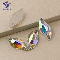 3254 All Sizes AB Diamond Leaf Strass Applique Sew On Stones Flatback Crystal Rhinestone Beads