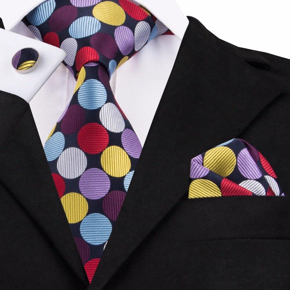 SN-1401 Regenbogen Farbe Mens Ties Einstecktuch Manschettenknöpfe Polka Dot Krawatten Für Männer Hochzeit Cosplay Jacquard Seide Corbatas