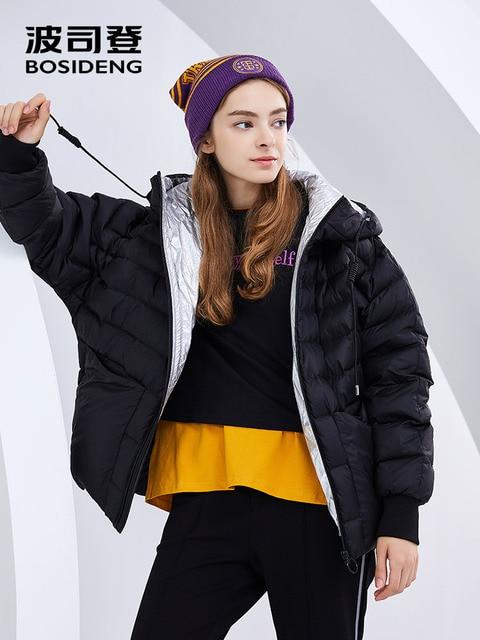 BOSIDENG женский зимний утепленный пуховик теплый пуховик Короткая Верхняя одежда с капюшоном 90% утиный пух непромокаемый свободный B80142514DS