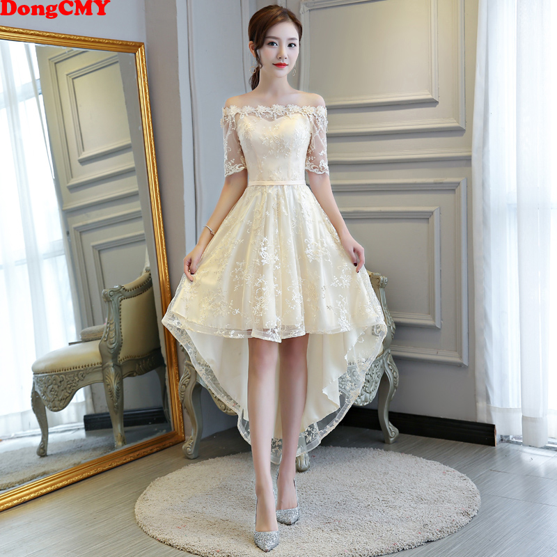 DongCMY 2020 New Princess Bridesmaid Dresses Bandage Champagne Color Wedding Party Dress