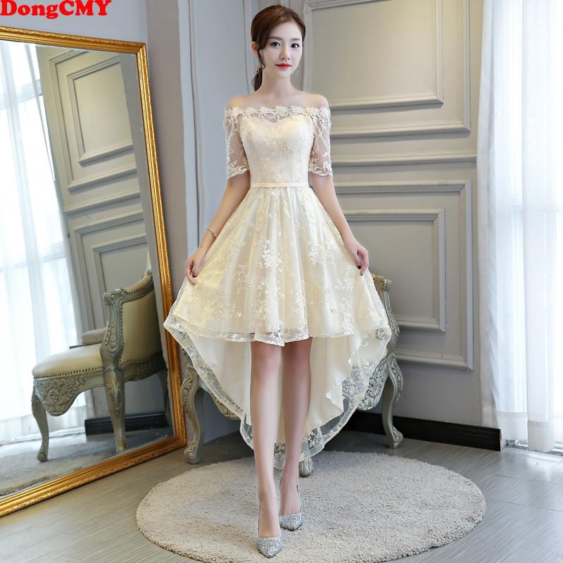DongCMY 2020 New Princess Bridesmaid Dresses Bandage Champagne Color Wedding Party Dress