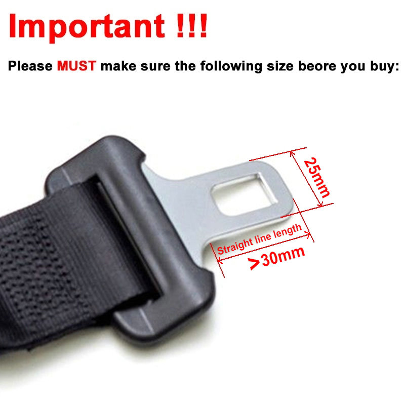 2 X Metal Tongue Width 245mm Rigid Car Seat Belt Buckle Extension Auto Belts Seatbelt Clip Extender For Cars Safety Gray Type B In Padding