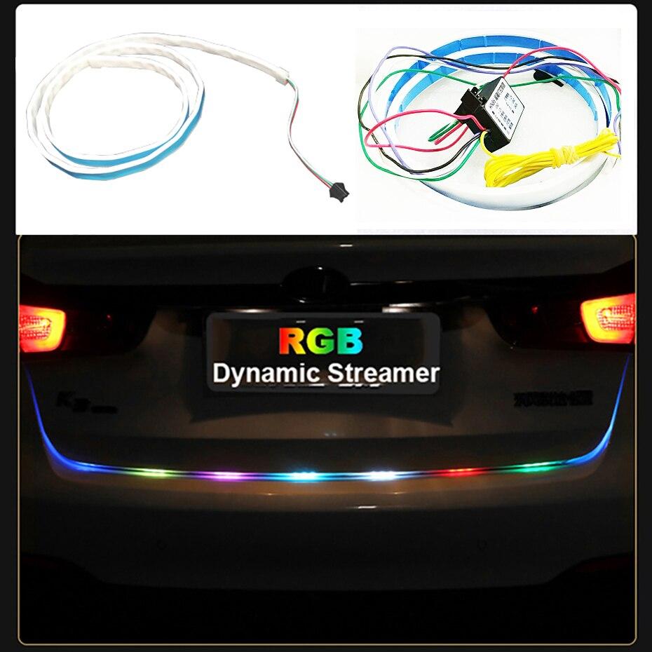 120 cm Car Styling RGB LED Bande D'éclairage Arrière Tronc Queue lumière RGB Dynamique Streamer De Frein Clignotants Led Feux D'avertissement bandes