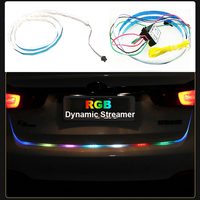 120cm Car Styling RGB LED Strip Lighting Rear Trunk Tail Light RGB Dynamic Streamer Brake Turn
