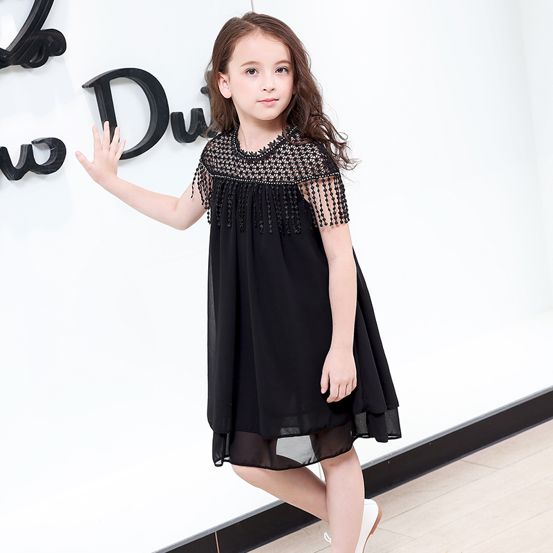 Summer Teenagers Girl 2018 Dress Korean Black Chiffon Dresses Girls  Princess Dress Tassel Vestidos for 10 9d271a75ce9b
