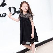 Летнее платье для девочек подростков 2018 корейские черные шифоновые