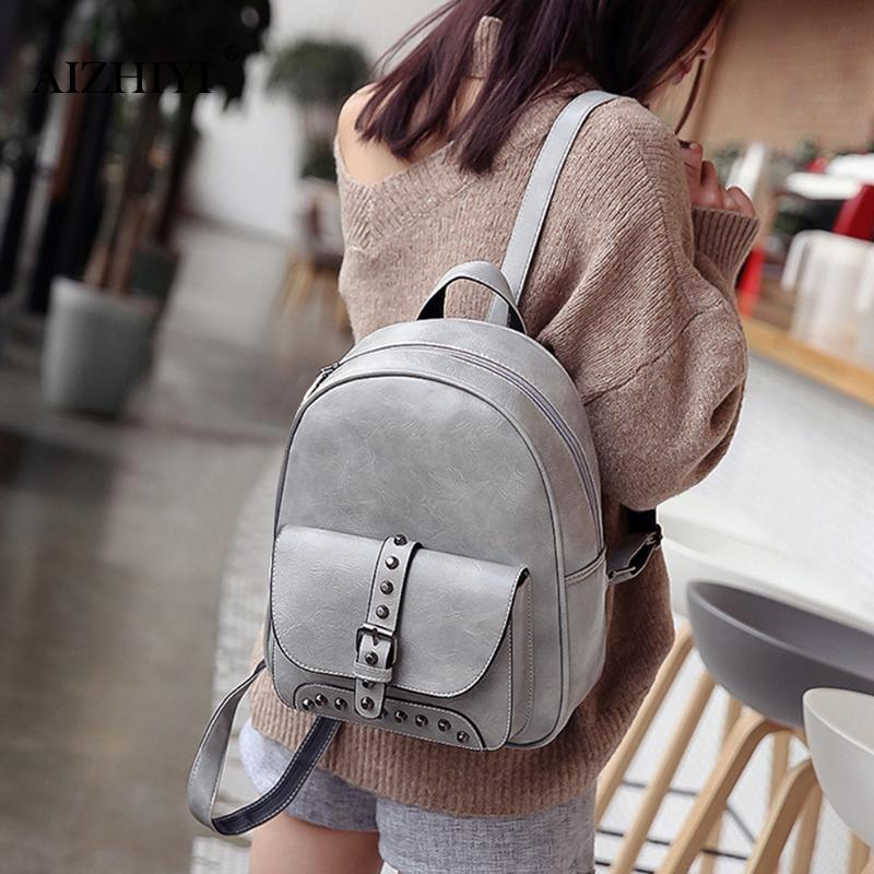 3 Pcs/Set Women Rivet PU Leather Backpack Composite Bag For Female Solid Casual Shoulder Satchel Bags Set