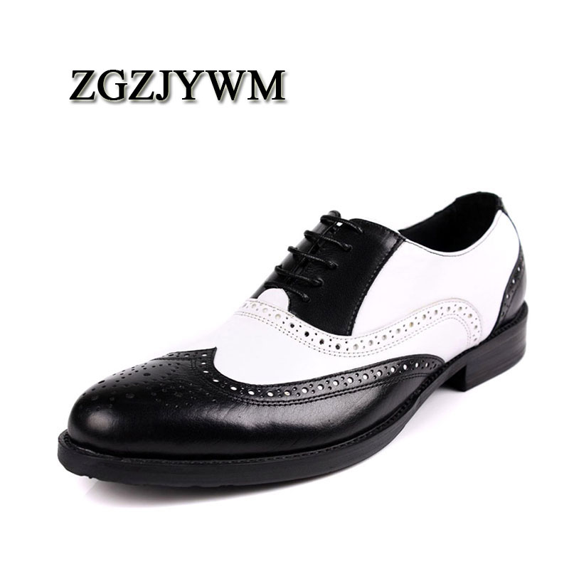 ZGZJYWM Fashion Men Oxford Wedding Male Lace-Up Pointed Toe Patchwork Office Genuine Leather Dress Black/Brown Size 38-44 ShoesZGZJYWM Fashion Men Oxford Wedding Male Lace-Up Pointed Toe Patchwork Office Genuine Leather Dress Black/Brown Size 38-44 Shoes