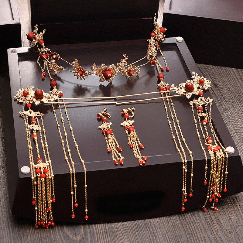 Elegant Ancient Chinese Red Beading Bridal Headdress Golden Tassel Hairpins Wedding Ornaments Hair Jewelry 4