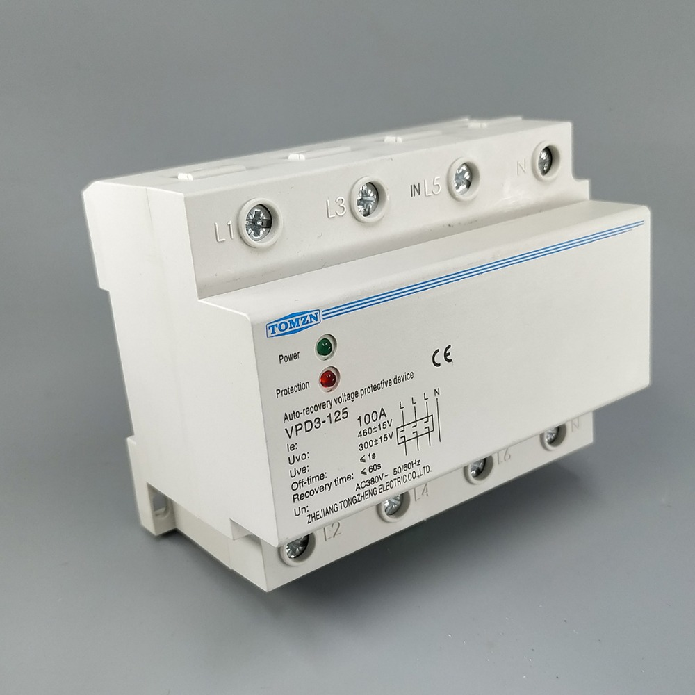 цена на 100A 380V Three Phase four wire Din rail automatic recovery over voltage and under voltage protective protection relay