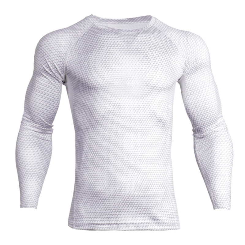 Gym Clothing Quick Dry Men's Sportswear Off White Fit Gym Sportswear T - shirt Fitness Tight Sport Suit Men Long Sleeve Shirt