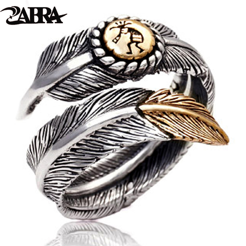 ZABRA 925 Sterling Silver Gold Color Feather Designed for Men Women Lover Wedding Ring Vintage Punk Retro Style Women Jewelry punk style pure color hollow out ring for women