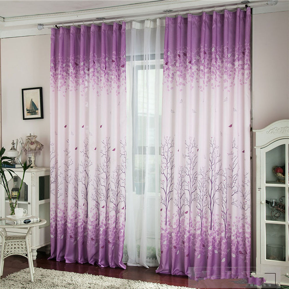 Calico Window Curtain Purple Translucent Printing Tree Brand New Kitchen Bedroom Living Room Door decoracion para el hogar