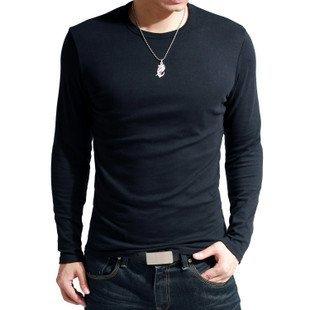 FREEshipping&gift 2012 NEW Men's t-shirt/Korean slim O-neck cotton long sleeve grandad top/extra large XXL 4-color SALE ST-801
