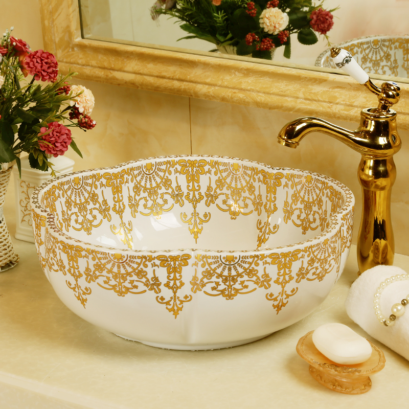 western antique chinese ceramic colored bathroom basin hand wash bowls lavabo sink bathroom sink chinese art