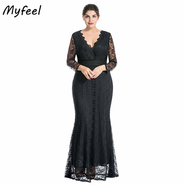 8f05881c2d9 Myfeel Women Plus Size Maxi Dress V-Neck Full Sleeve Floral Lace Mermaid  Formal Dress Tunic Party Wrap Event Gowns