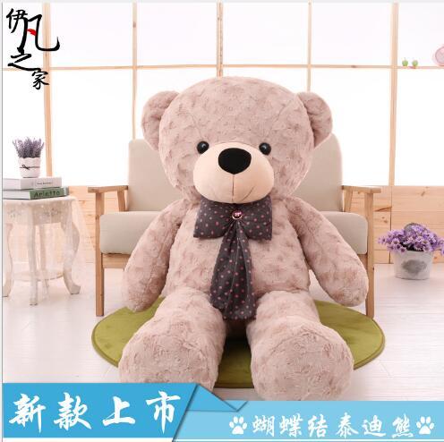 WYZHYLong-haired bow super grand ours en peluche peluche poupée canapé chevet décoration pour envoyer des amis et des enfants cadeaux 120 CM