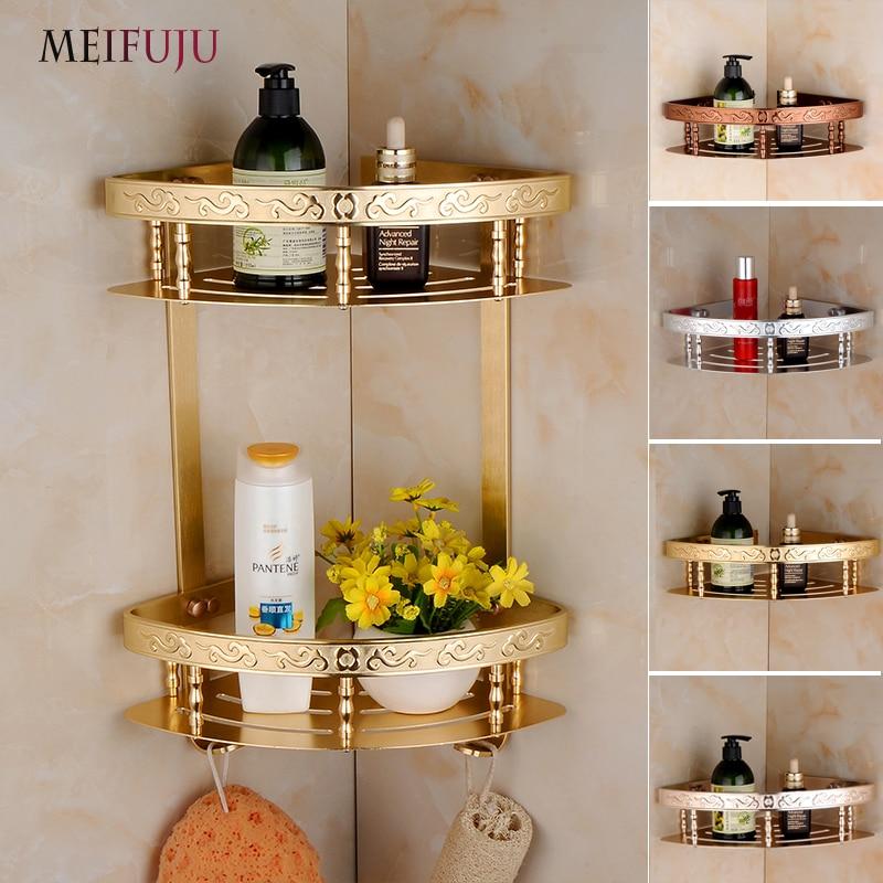 Aliexpress.com : Buy MEIFUJU Aluminum Bathroom Shelf Shampoo Soap Cosmetic  Shelves With Hooks Bathroom Accessories Shelf Basket Holder Double Layer  From ...