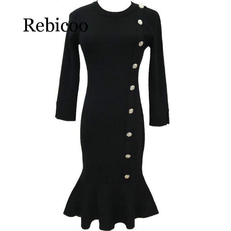 Женское платье свитер пуговицы с круглым вырезом, черное облегающее платье в Корейском стиле русалки, зима 2019