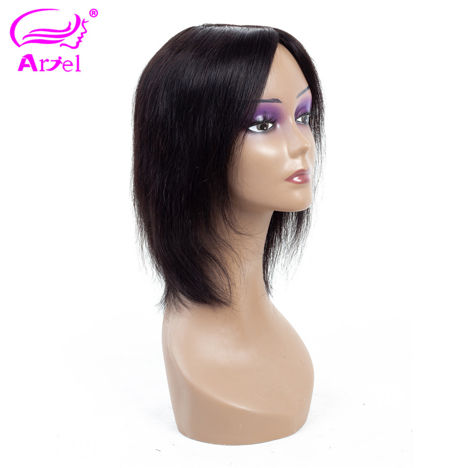 ARIEL Brazilian #1B Straight Human Hair Wigs Non Remy 100% Human Hair Wig 130% Density 10 Inch 1B H.Sweety Wigs For Black Women