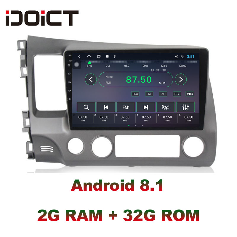 IDOICT <font><b>Android</b></font> 8.1 IPS 2G + 32G Auto DVD Player GPS Navigation Multimedia Für <font><b>Honda</b></font> <font><b>Civic</b></font> Radio <font><b>2008</b></font>- 2011 auto <font><b>stereo</b></font> image