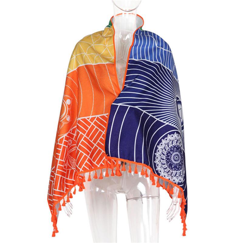 Dropship! Single Rainbow Chakra Tapestry Towel Carpet Mandala Boho Stripes Travel Yoga Mat Outdoor Mats 150x70cm/100x45cm 14