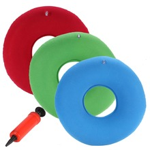 New Inflatable Ring Round Pillow Donut Chair Pad Hip Support Medical Hemorrhoid Seat Massage Cushion With Pump Red, Green, Blue