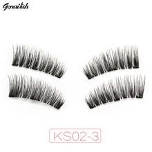 Genailish 6D Magnet Eyelashes 3 Magnetic Lashes fake Natutal Eye lash Long Eyelash False Makeup Tools KS02-3